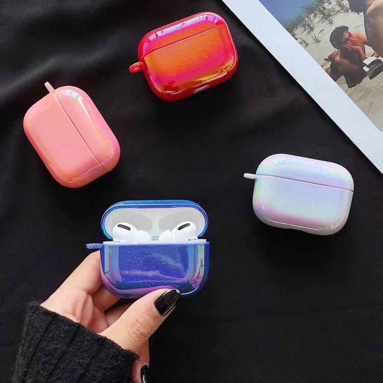 Laser gradiente Pearl Shell portachiavi goccia dell'acqua Arcobaleno Difficile cuffia auricolare di caso per Airpods 1 2 Pro Headset copertura wireless