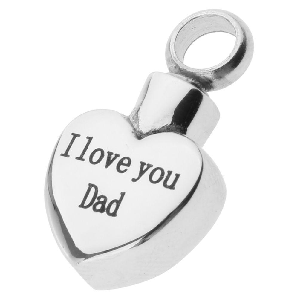 Acier inoxydable Coeur I Love You Dad Memorial Pendentif Crémation Urne cendres Bijoux Crémation Waterproof