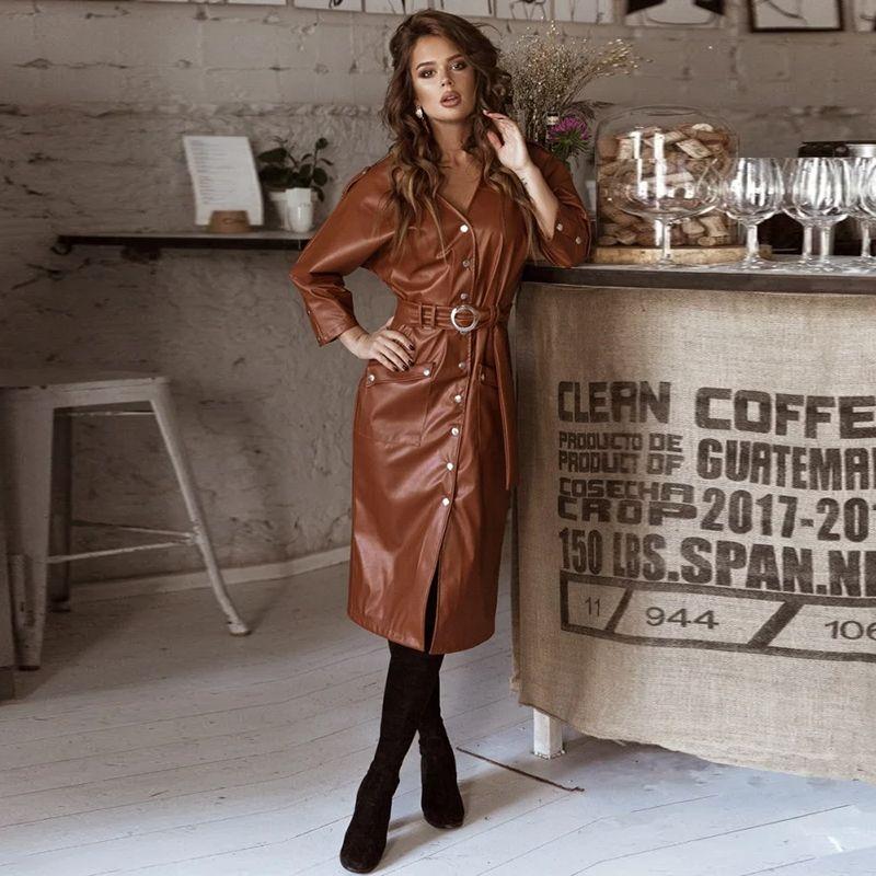 Femmes Vintage Pu cuir droite robe de soirée Mesdames Bouton Ceinture Robe sexy printemps col V 2020 New Fashion Midi Robe Vestidos