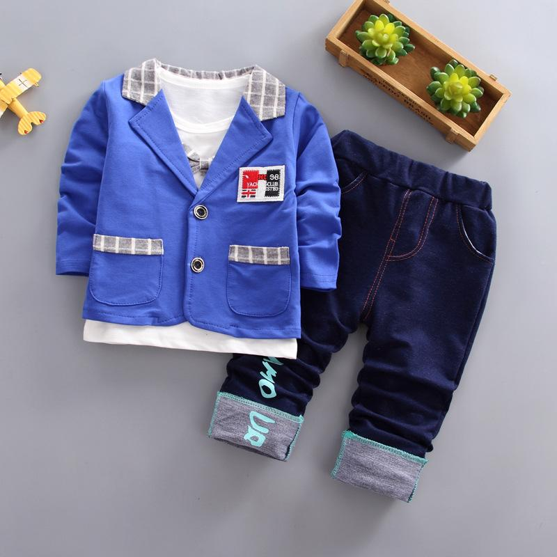 3 stücke Herbst Mode Kleinkind Kleidung Baby Jungen Kleidung Herren Baumwollanzüge Langarm Mantel Solide T-Shirts Hosen Sets