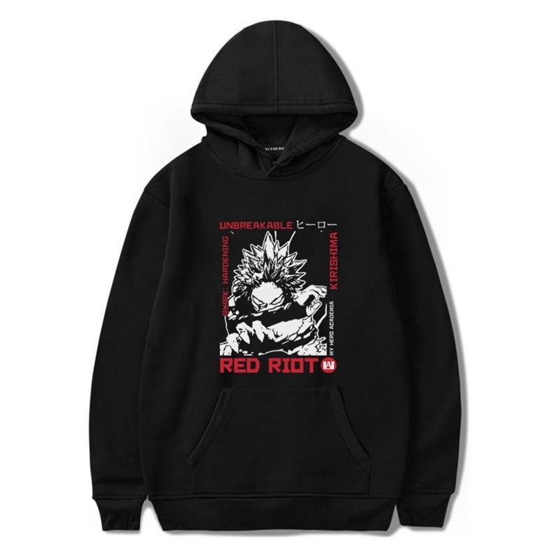 Roter Riot Hoodie Kirishima Mein Held Akademie Womens Pullover Hoodie Sweatshirt Outdoor Black XXL Langarm Lässige Herbst Hoodies 0916