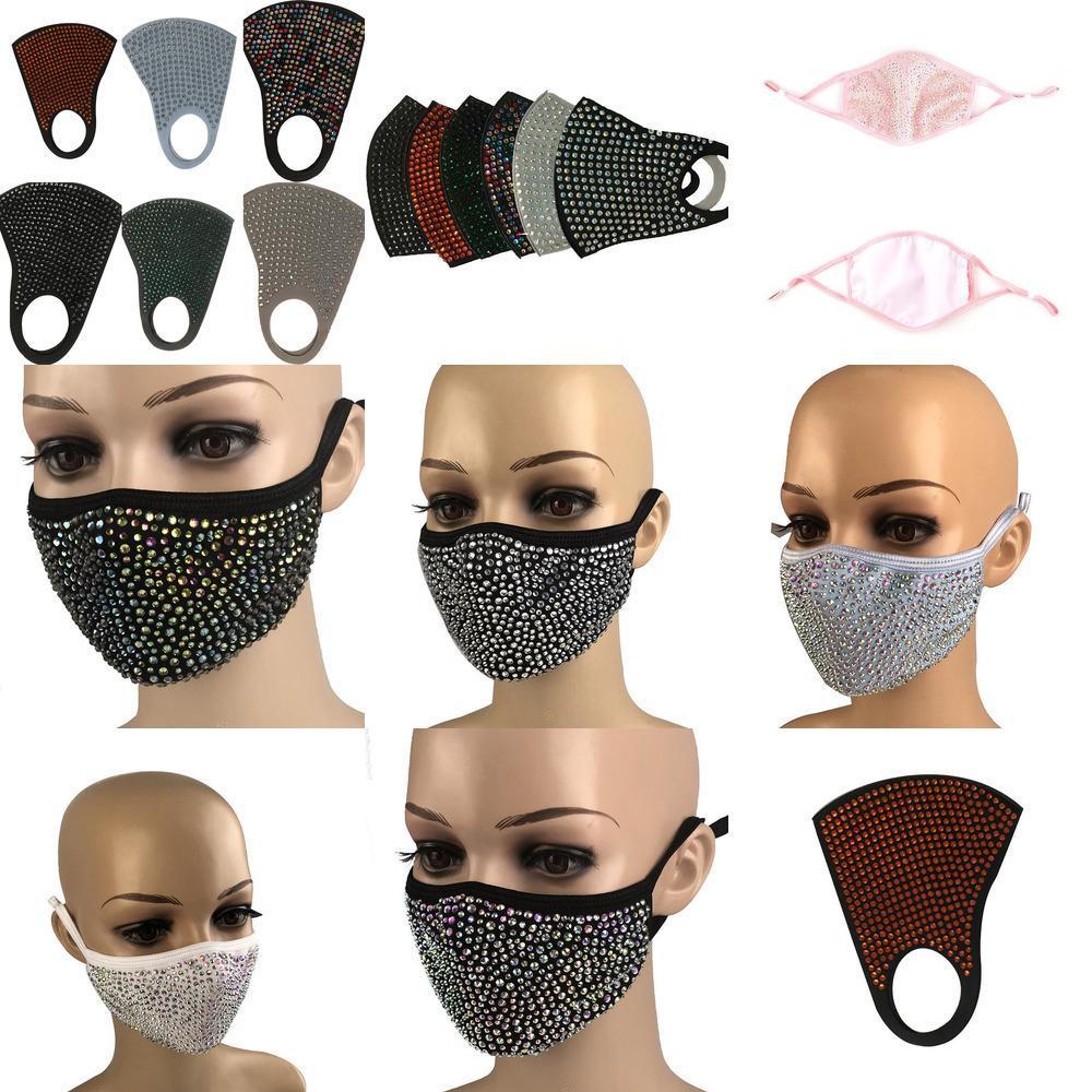Diamant Bling Bling Staubdichtes Schutz Mode Maske PM2.5 Mundmasken Waschbar Wiederverwendbare 8ua1