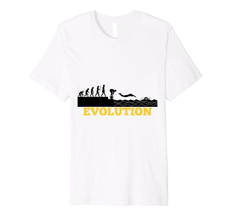 Funny Evolution Swimmings Pool T-Shirt Swimes Sporting Lover Gift Sleeve Harajuku Tops Cartoon Hip Hop Shirt O-Neck Stylish