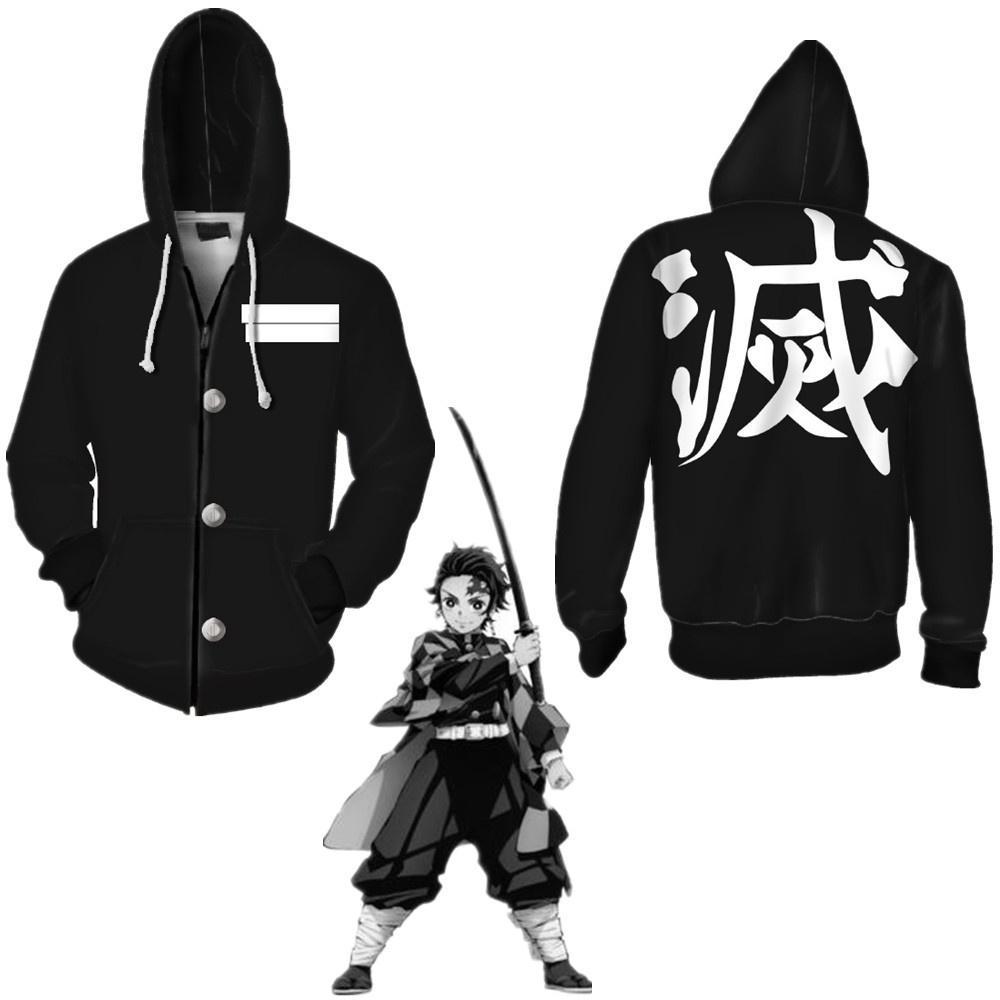 Japonya Anime Unisex Demon Slayer Kimetsu Yok Yaiba Kisatsutai Cosplay Kostüm Siyah Ceket Casual Ceket Fermuar Hoodie
