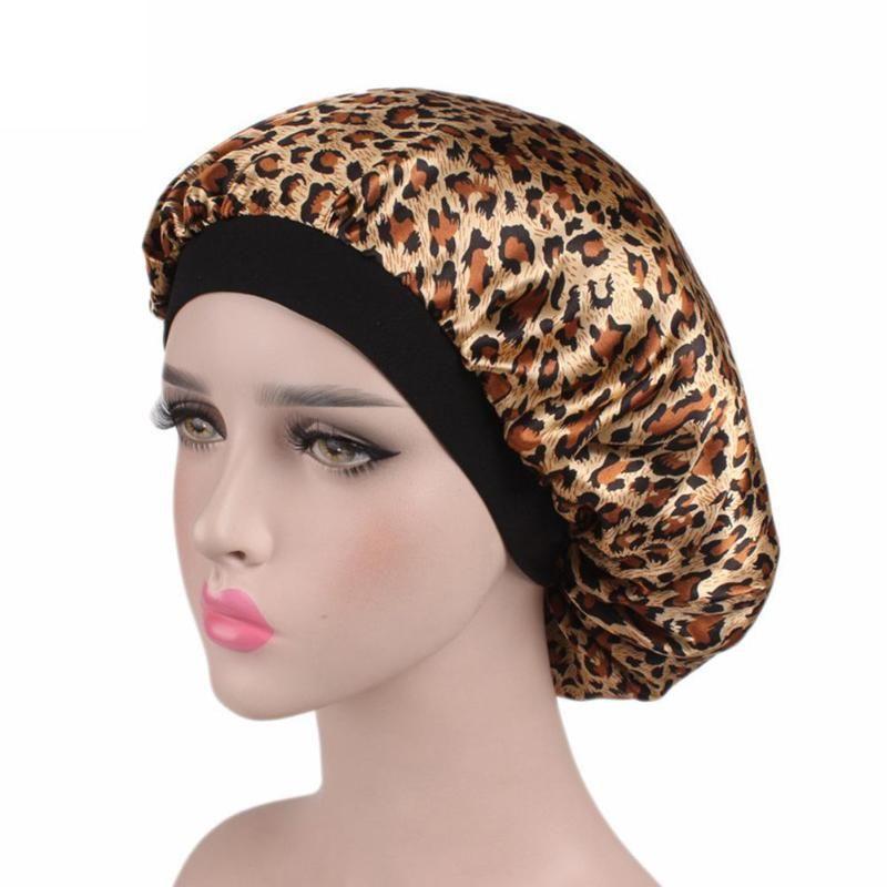 Capó de pelo suave satén de seda Mujeres Niñas Sleeping Ducharse Lavarse la cara Cap Salon