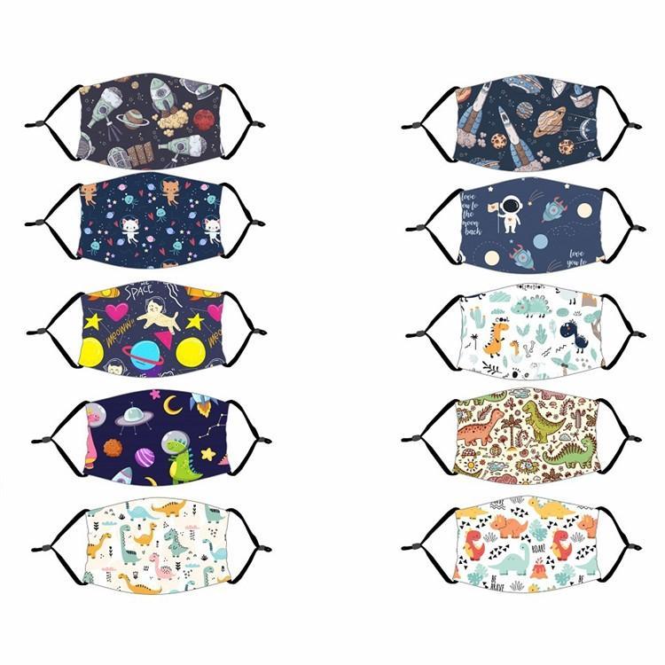 Niños pequeño dinosaurio planeta polvo máscara de dibujos animados astronauta y prevención de neblina máscara transpirable diseño reutilizable lavable máscara T500153