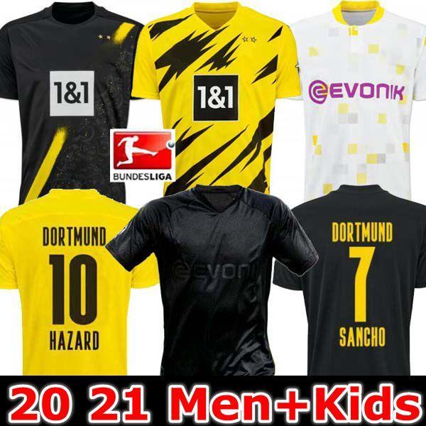 남자 + 키즈 19 20 21 Dortmund Borussia Reus Guerreiro 유니폼 축구 2019 2020 블랙 아웃 Sancho Hummels Haaland 스포츠 셔츠 2020 브랜트