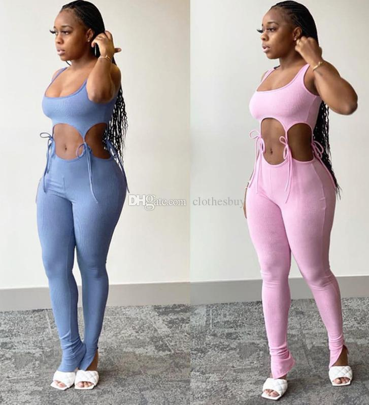 Großhandel Frauen Hohl Jumpsuit Strampler Yoga Hosen Sommer Pyjama Onesies Ärmellose Schildkröte Neck Skinny Slim Casual Body Sportswear