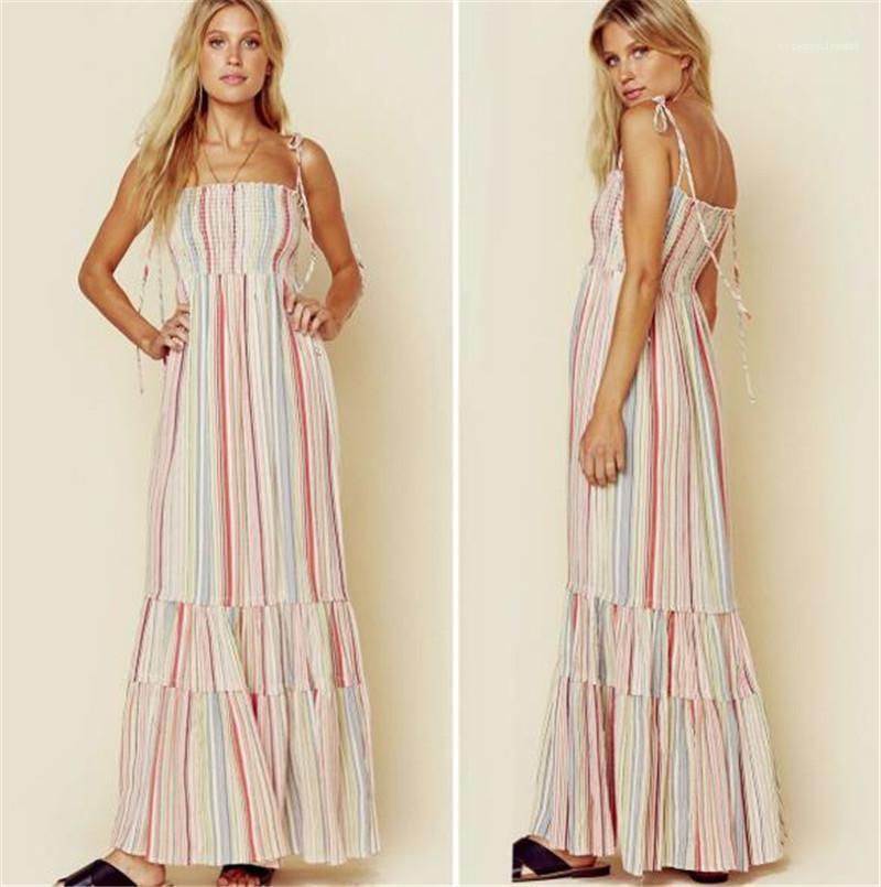 Платья Цветочных печатные женские чешские платья Модный Спагетти ремень Пляж Платье для отдыха Повседневных женщин летнего Дизайнерские