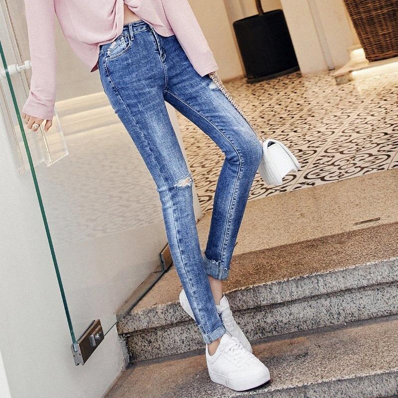 Zerrissene Jeans weiblich Bleistift-Hosen extralange 170-185cm hohe dünne Hosen Denim Jeans mit hohen Taille und koreanische Art und Weise Hosen 1SRl #