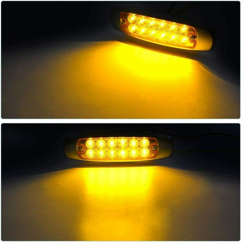 12 LEDs Lights Side Marker Amber Clearance For Heavy Truck Trailer Lorry