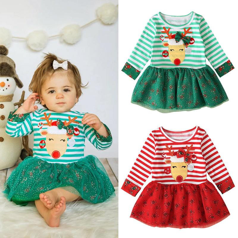 2020 New Arrival Christmas Halloween Children Long Sleeve Round Neck Dresses Stripe Elk Printed Baby Girls Dress Kids Party Clothes E92701