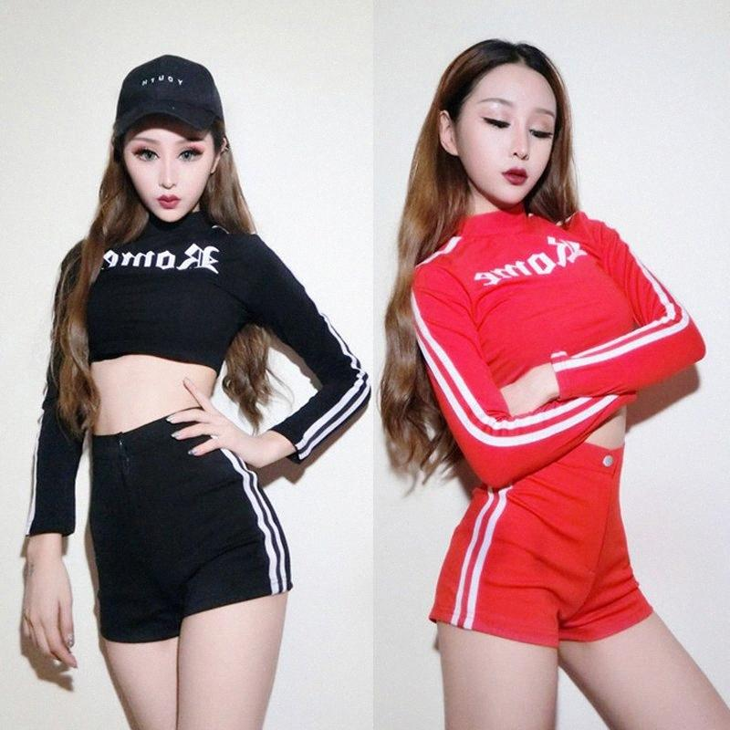 Sexy Jazz Dancing Stage Costume Hip Hop Costumes Dance 2 Pieces Set Tops Shorts Cheerleading Modern Club Rave Clothes DWY313 2DTc#