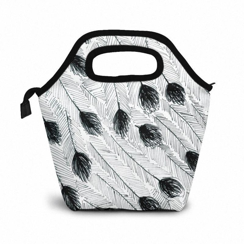 Эму перо обед мешок обед / Ледовые сумки Портативный Изолированный Пикник Box Для женщин Для мужчин RRrS #