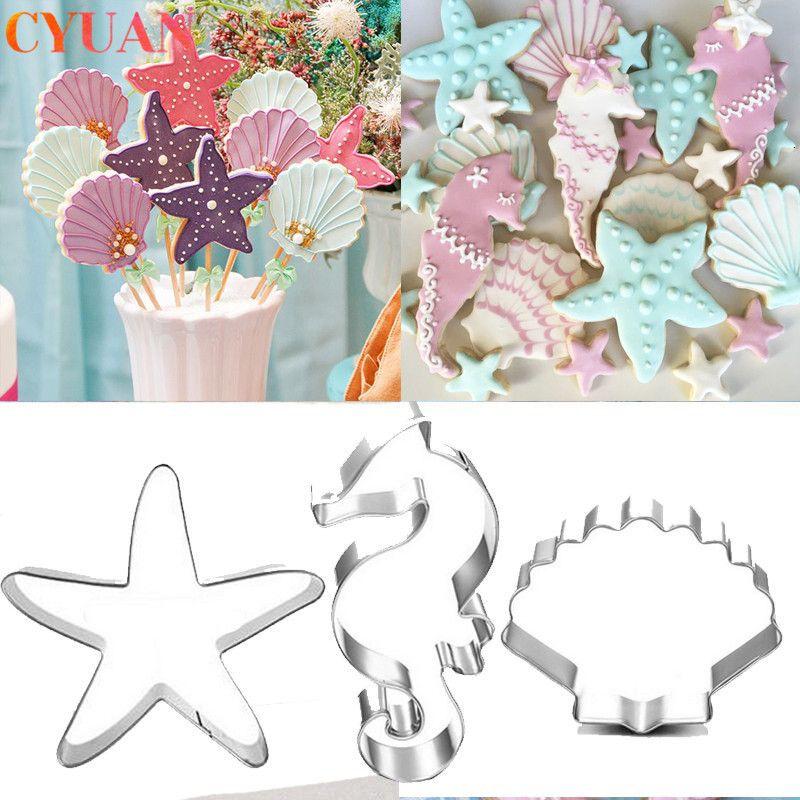 Fontes animal Unicorn Bolo Cookie Cutter Mold Biscuit Decoração Moldes Kitchen Baking Tools Crianças Mermaid Party Decor aniversário