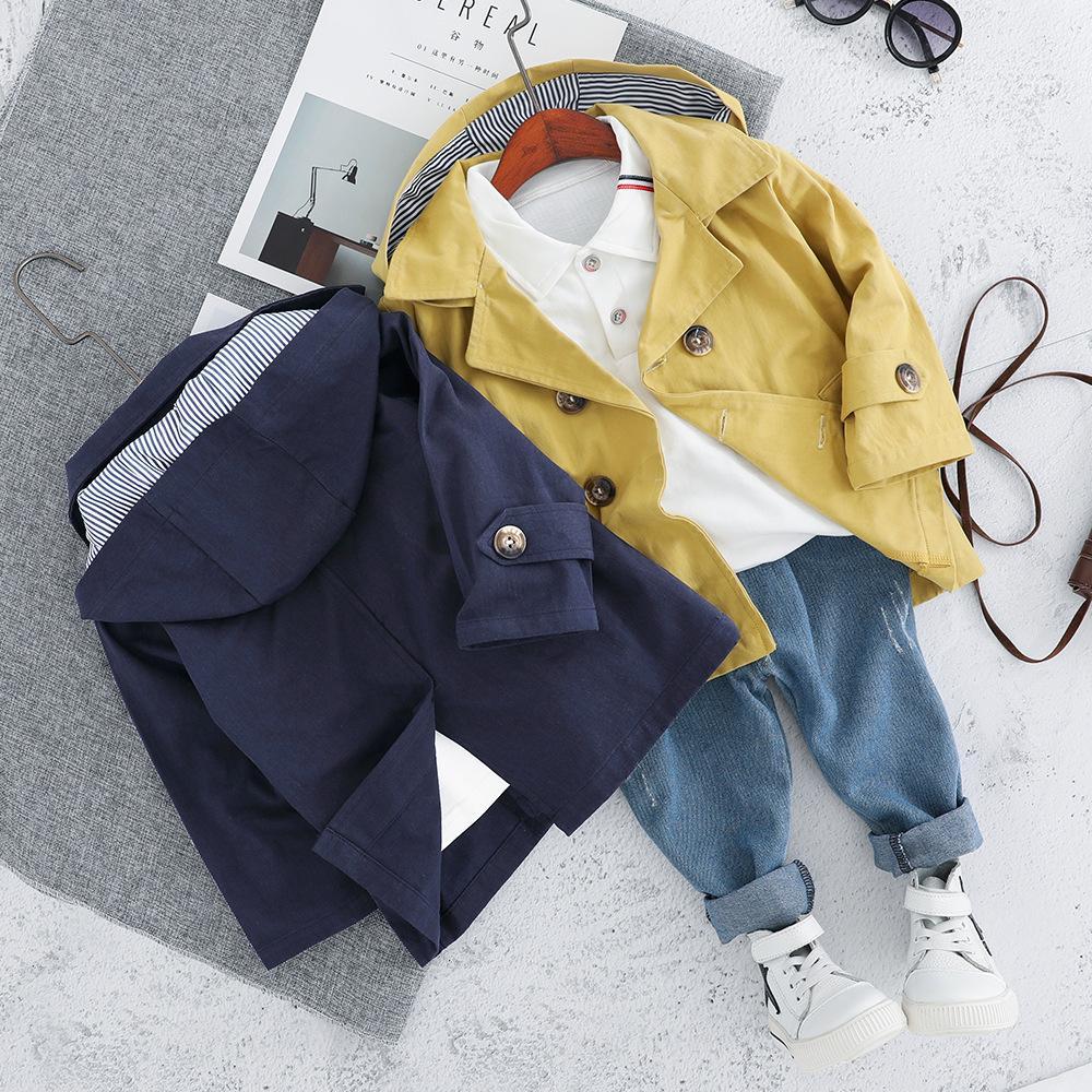 Mode Jungen-Kleidungs-Sätze 3pcs beiläufige Baumwolle Langarm-Herbst-Klage Hoodies Jacken Tops Shirts Jeanshosen 1-4T