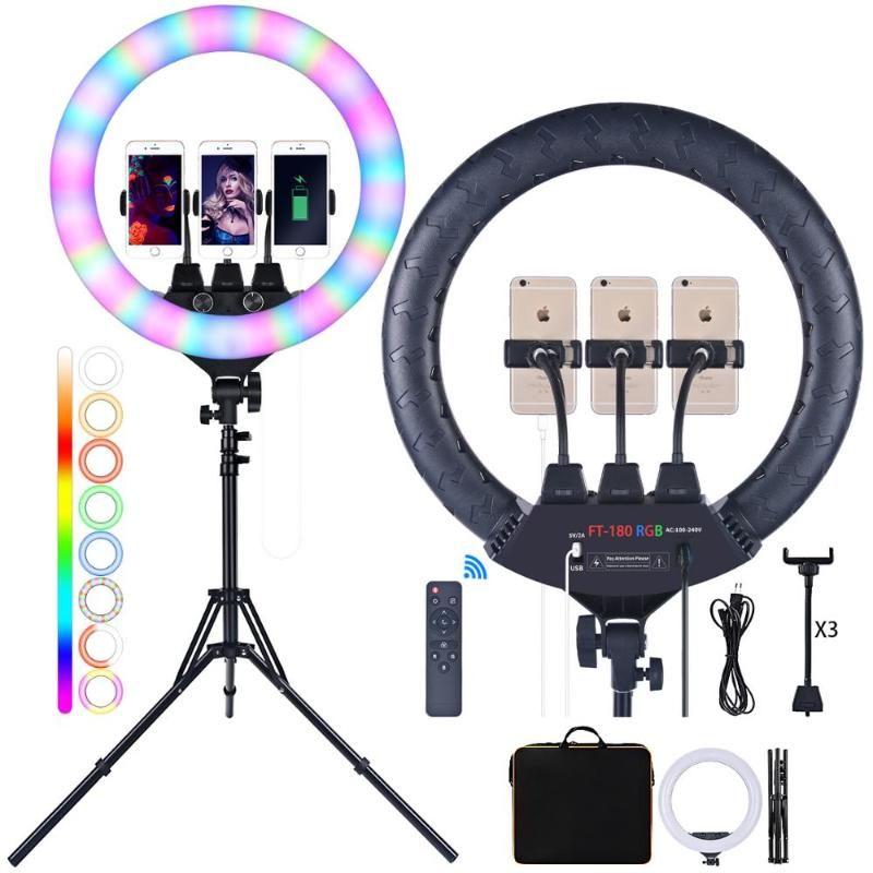 Fusitu FT-180 da 18 pollici RGB Anello video luce della lampada Ringlight fotografica con treppiede e Usb a distanza per il trucco fotocamera Youtube