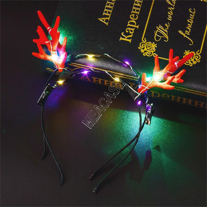 LED Elk Horn Haarreif leuchten Geweih Stirnband Lumious Flashing Haar-Band-Halloween-Weihnachtsparty Cosplay Geschenke Weihnachten Deer Haarspange d91703