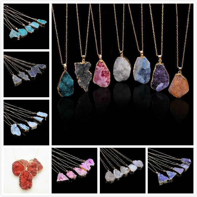 Crystal Necklace Quartz Healing Point Chakra Bead Gemstone Necklace Pendant original natural stone-style Pendant Necklaces Jewelry HHC1274