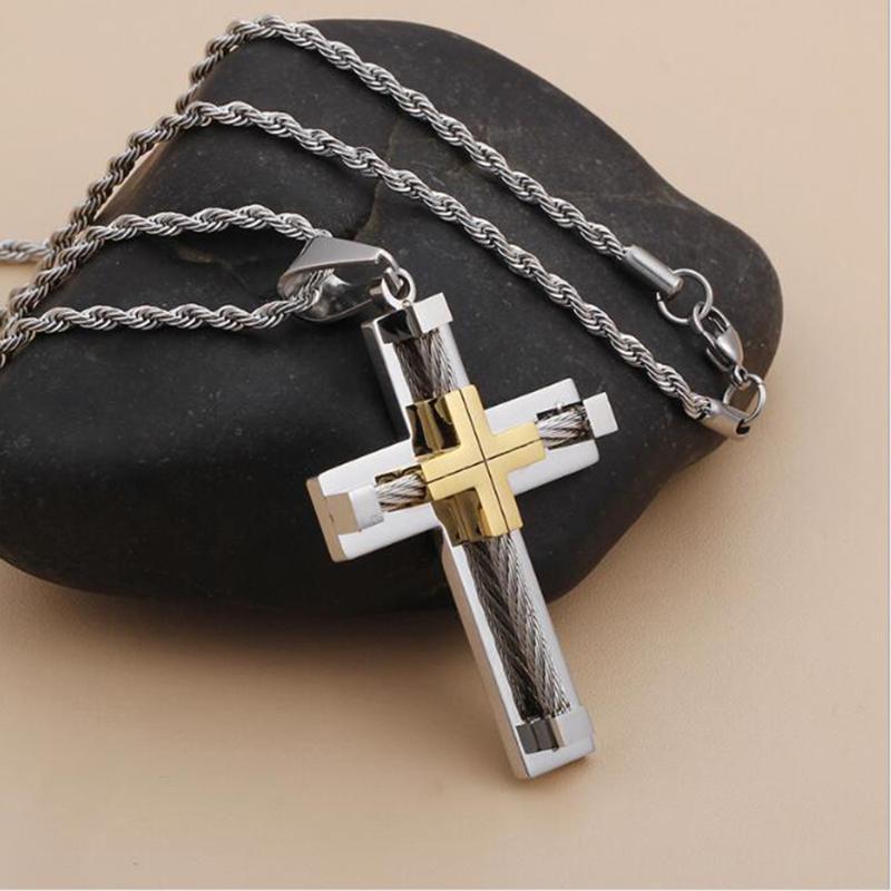 Collier Grande Croix en acier inoxydable Pendentif avec corde chaîne Eglise religieuse Croix Collier cadeau pour les hommes Bijoux Femmes