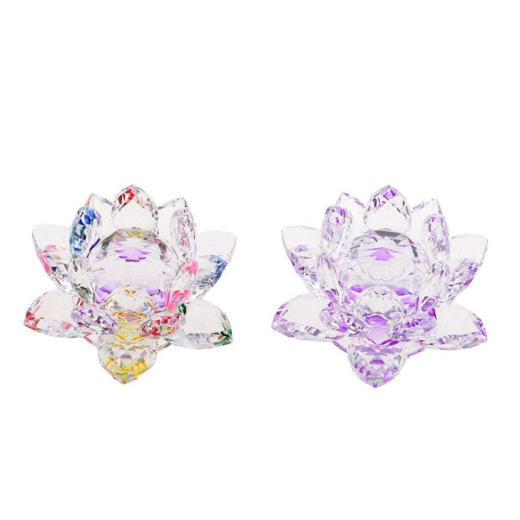 2pcs Bling Кристалл Цветок лотоса Модель стекла Craft Столешница Decor Фиолетовый Многоцветный