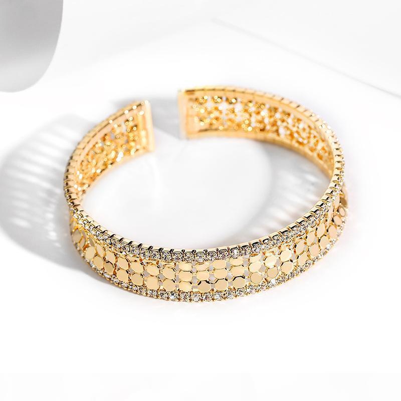 Bracciale in oro scintillante per le donne anello aperto tutto semplice eleganza gioielli regolabile nuova moda vasta paillettes in metallo braccialetto