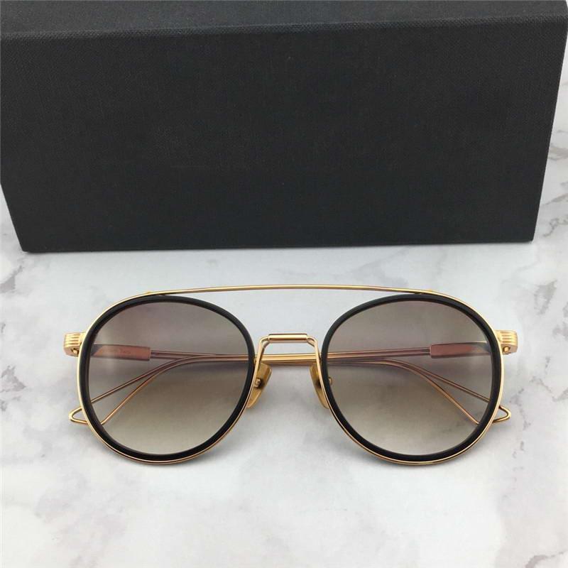 Titan Neue Mode 115 für Tonrahmen Sonnenbrille Gradientenlinse Brown Frauen Sonnenbrille Sonnenbrille Mit Mens Runde Gold Box BFSDQ