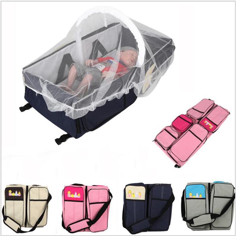 2 개 IN1 다기능 기저귀 가방 배낭 여행 휴대용 대용량 어깨 엄마 접는 침대 가방 방수 팩