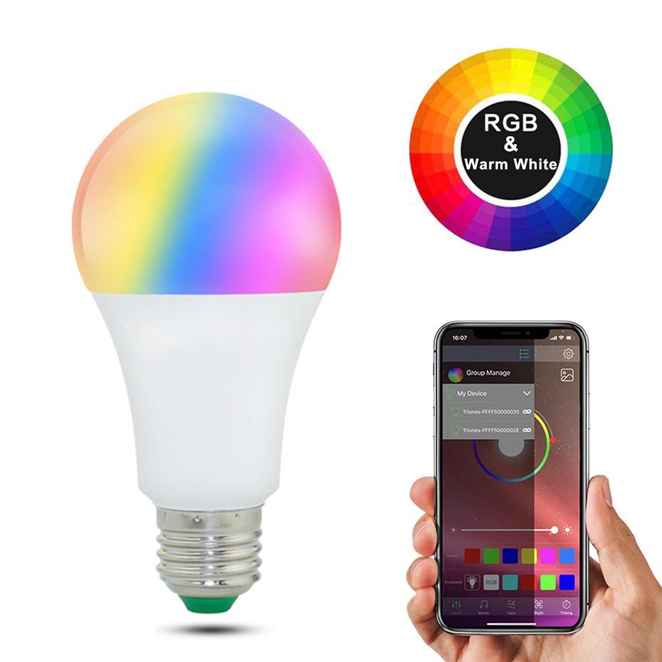 20 Modes Dimmable E27 RGB LED Smart WIFI Bulb 15W Bluetooth Magic Lamp RGBW RGBWW Smart Lamp E27 B22 Music Control Apply to IOS /Android