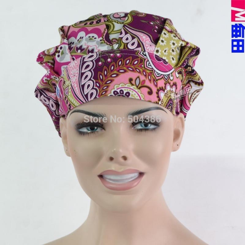 Rosa Paisley Scrub Cappelli infermieri Protezione Ed cotone stampato Cap Capelli lunghi Cappello Bouffant spedizione gratuita