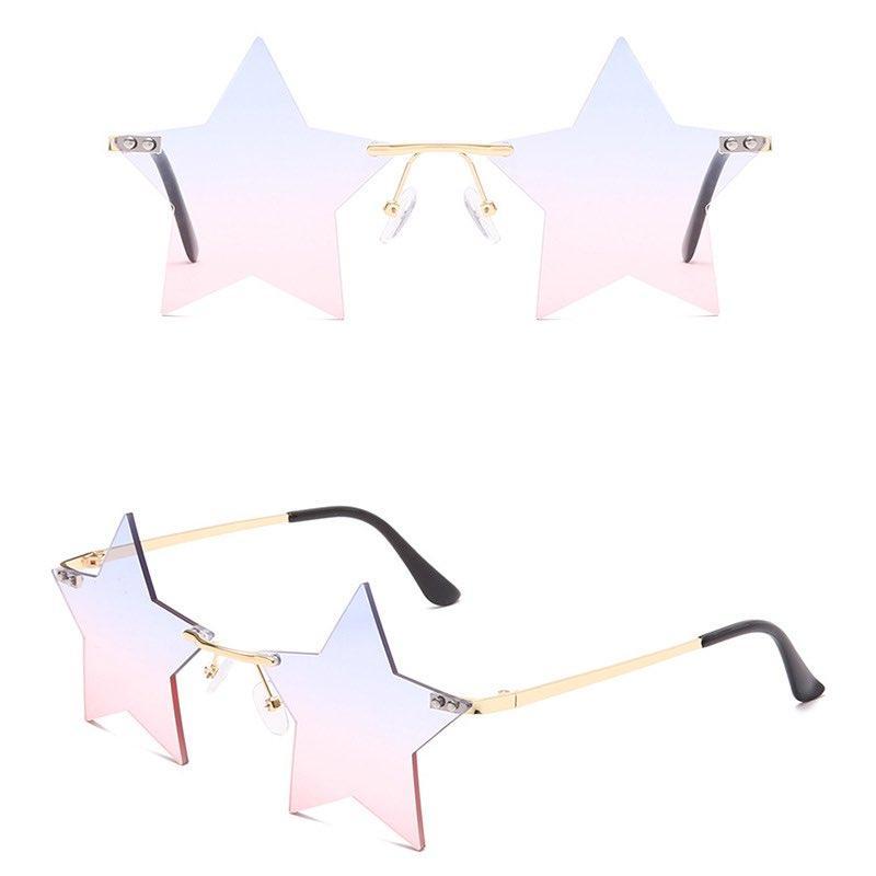 Pentagonale Sterne Sonnenbrille Frauen Schatten Ozean-Linsen Randlose Vielseitige Sonnenbrille Cool Designer 5 Farben Großhandel