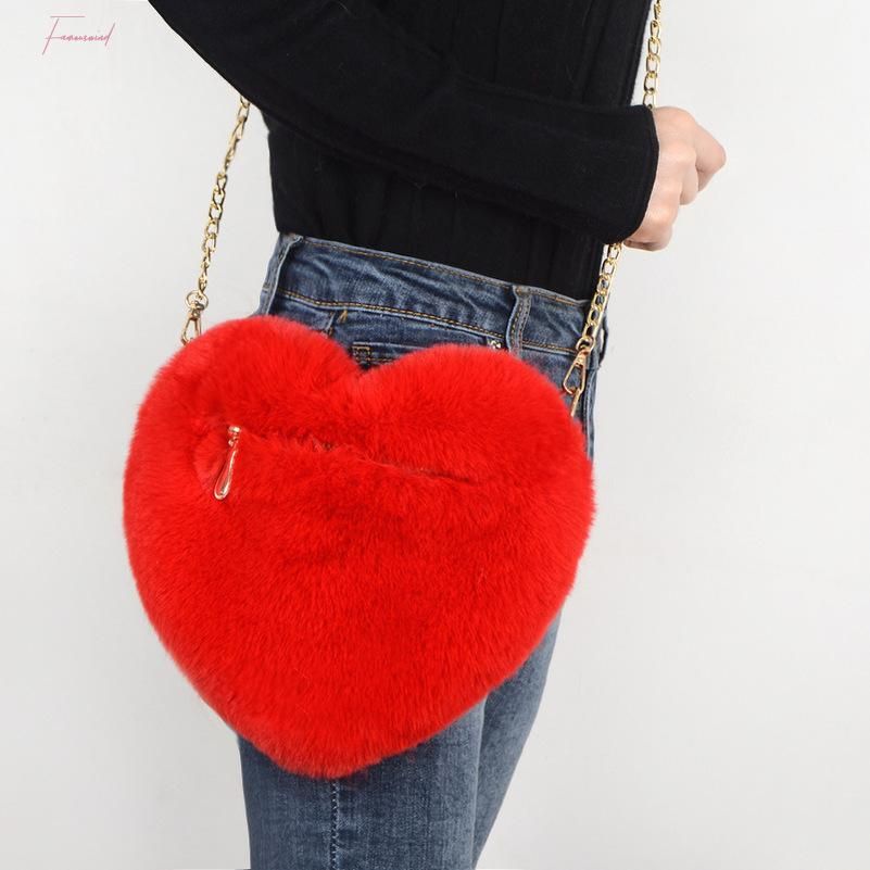 Fax Fur Loving Heart Ladies Shoulder Bag Women Mini Plush Messenger Bag Love Shape Hand Bag Fashion Girls Party Handbags