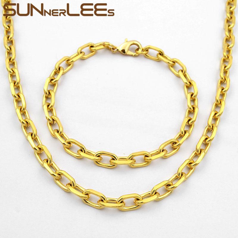 SUNNERLEES moda jóias cor do ouro Colar Pulseira Set 6,5 milímetros oval Chain Link Para Mens Womens presente C33 S