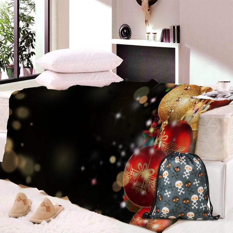 مخصص DIY طباعة عيد الميلاد البطانيات 1PC عيد الميلاد غطاء الفانيلا النسيج أريكة سرير بطانية 150X200CM الديكور المنزلي اكسسوارات
