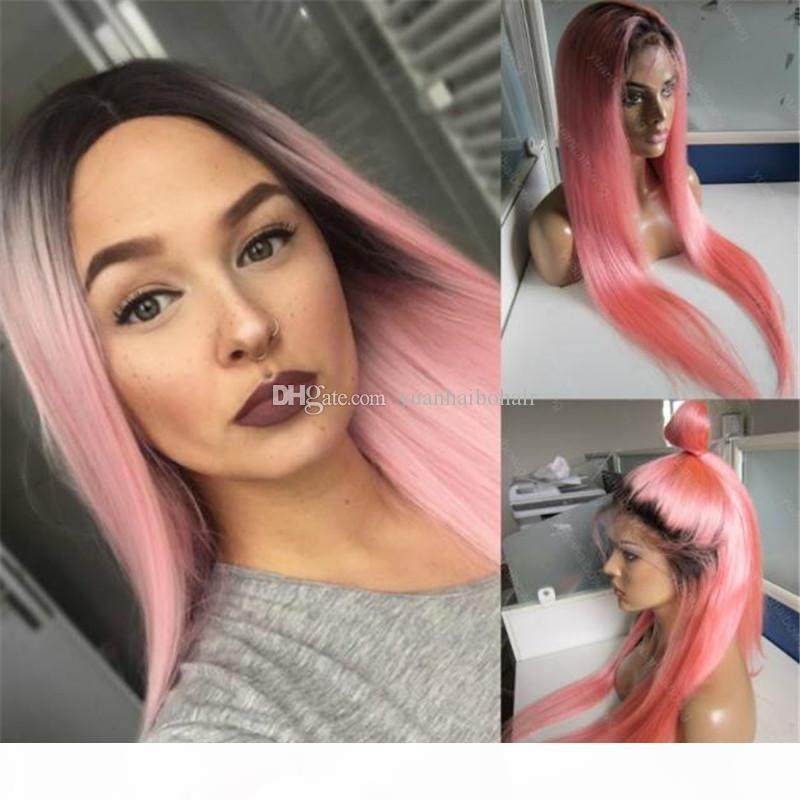 Raízes de Moda de Nova escuras Ombre brasileira de seda Cabelo Humano Hetero Rosa Lace peruca completa frete grátis