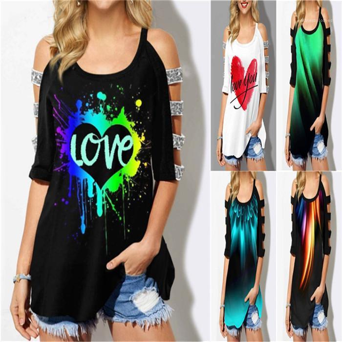 Casual progettista delle magliette delle donne delle signore del modello 3D Tops Abbigliamento Dropshipping Womens senza spalline T-shirt estate più il formato 1/2 manica