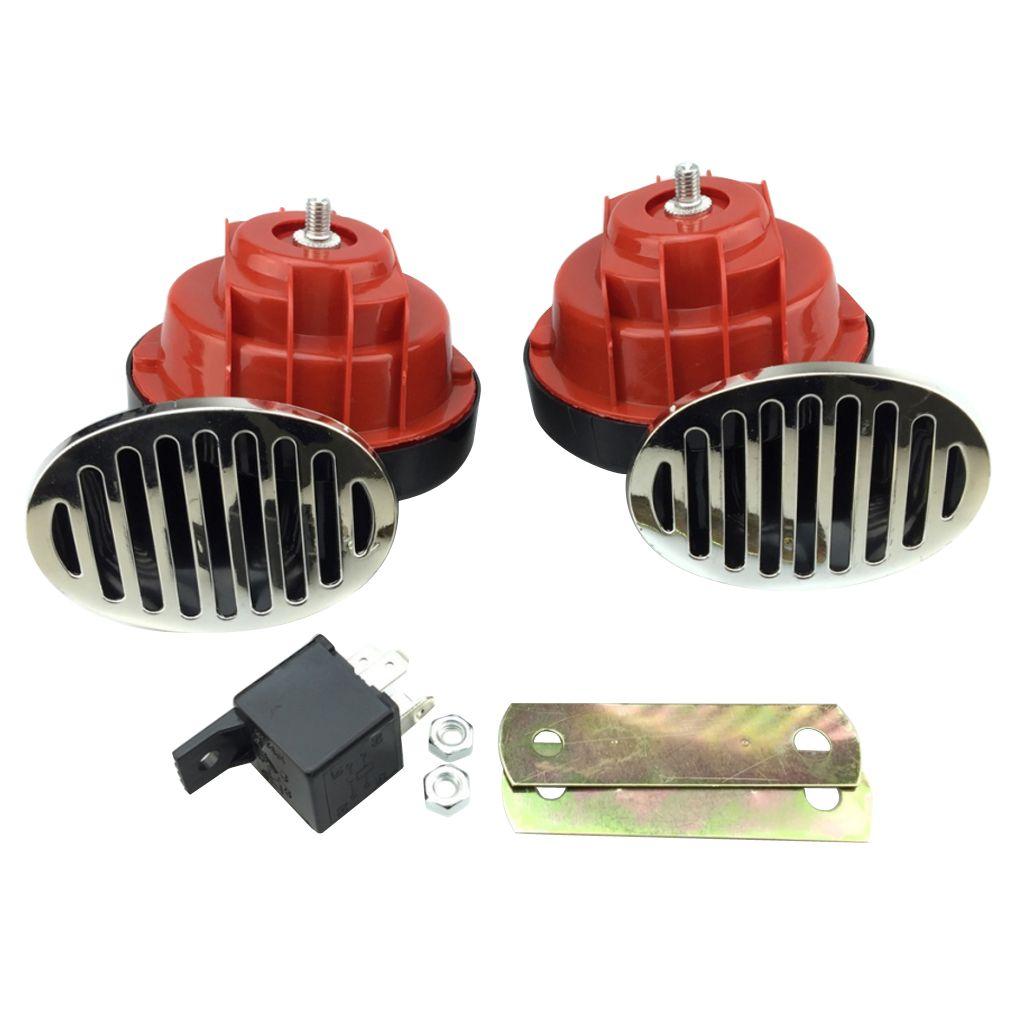 12V Salyangoz Horn Hava Horn Çift Ton Su geçirmez Süper Gürültülü CarHorn Modifiye