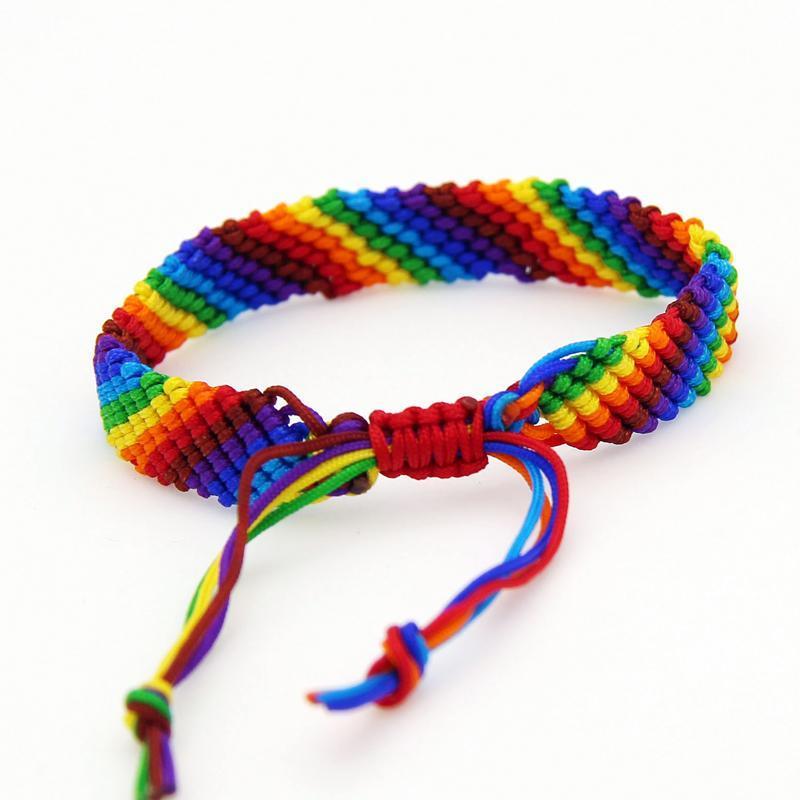 Los más vendidos Cgjxs estilo bohemio hombre y para mujer hecho a mano ajustable colorido cuerda pulsera tejida de algodón del arco iris pulsera