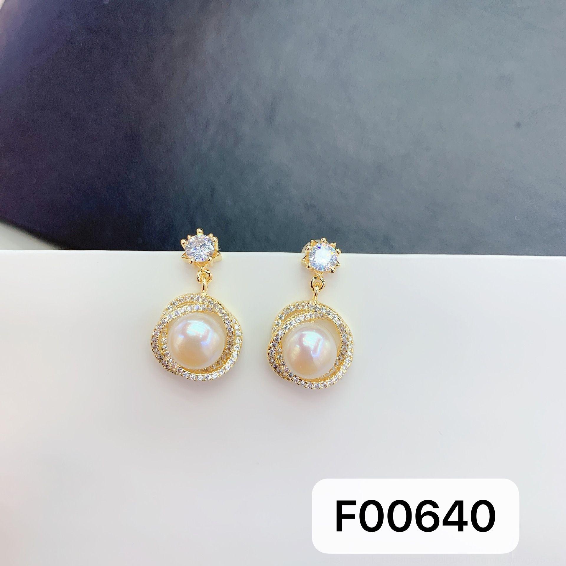 vkRdR pérola de jóias e de água doce zircão pearlearrings banhados a ouro 14K brincos de jóias todos os-Jogo