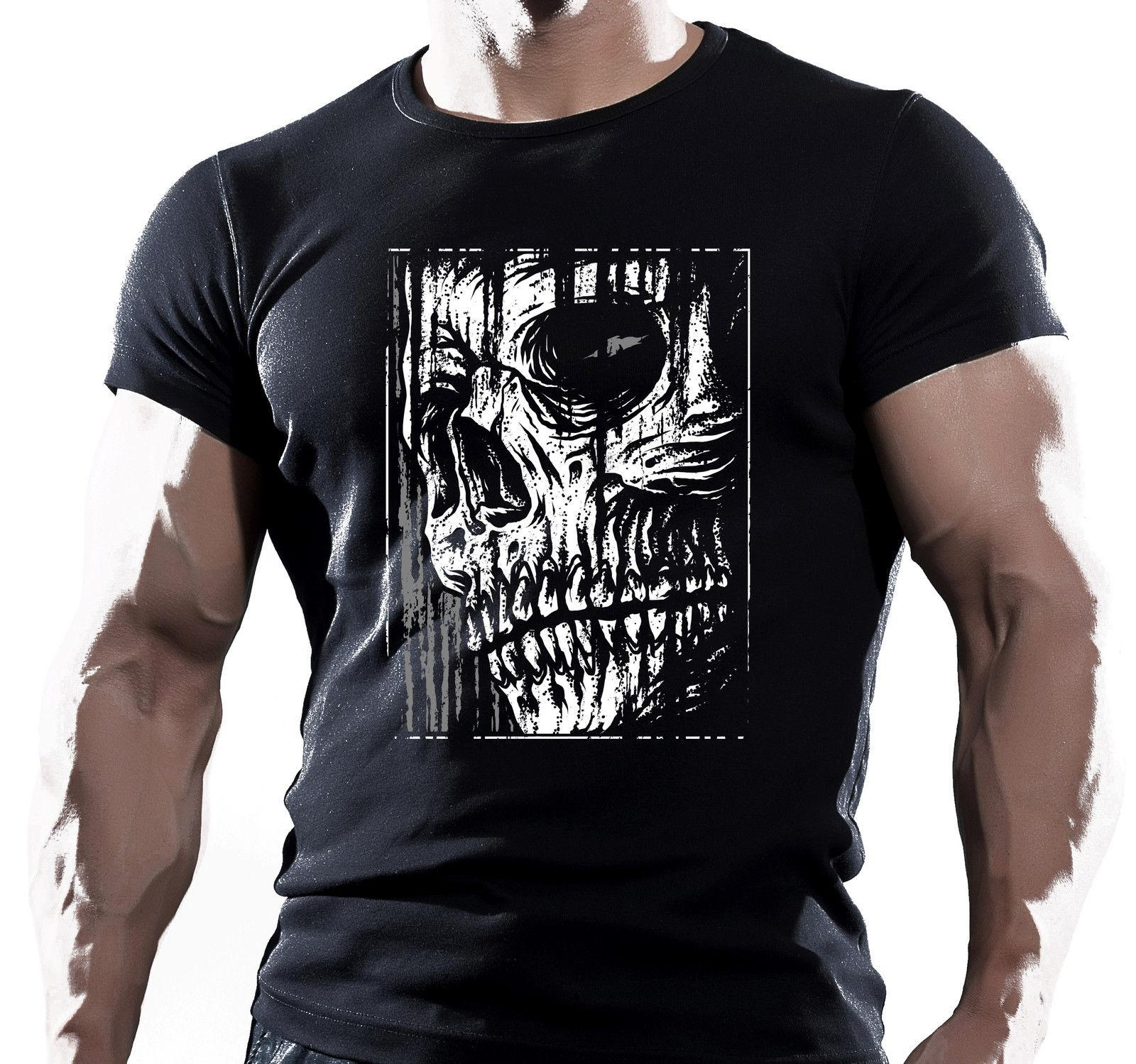 Breve modo del manicotto maglietta faccione Skull Creep scuro Fantasy T shirt per adulti T-shirt in cotone naturale adolescente Printed Tee Top