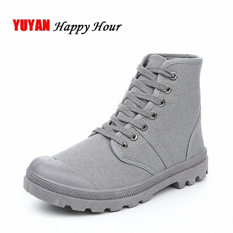 New 2017 Canvas Shoes Men Ankle Boots Non Slip Thick Sole Fashion Mens Boots Male Brand Shoes Spring Autumn Fashion Botas K055 T4eB#