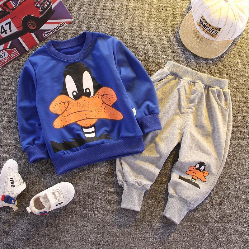 Otoño del resorte de los niños de dibujos animados de la camiseta de los pantalones 2pcs / fija la ropa infantil del bebé manera del equipo Cabritos del niño chándales sistema ocasional X0923
