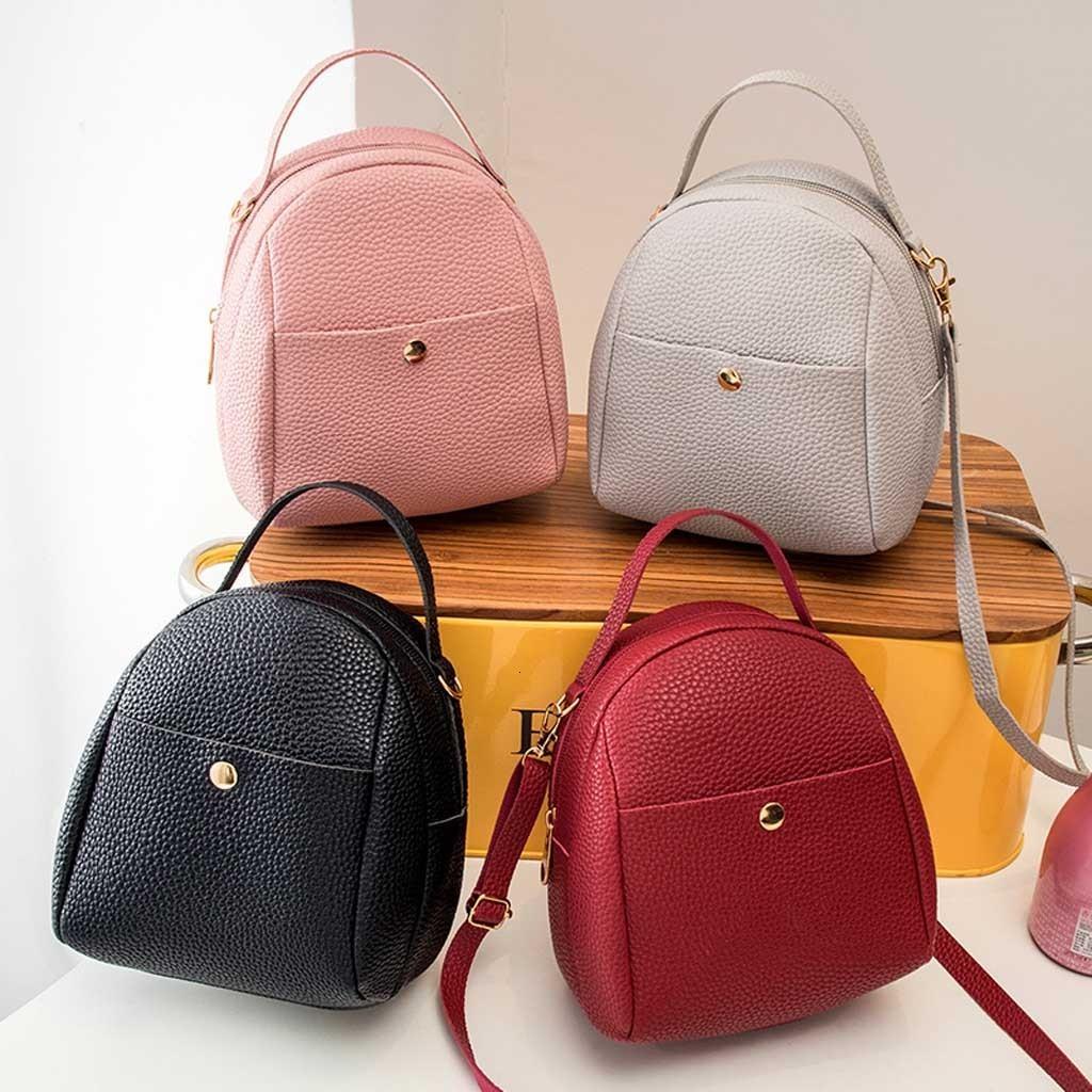 Sırt çantası Kadınlar Moda Saf Renk Omuz Çantası Bayan Sevimli Kawaii Çanta Tasarımı Cep Telefonu Çanta Bagpack Yeni mochila Feminina