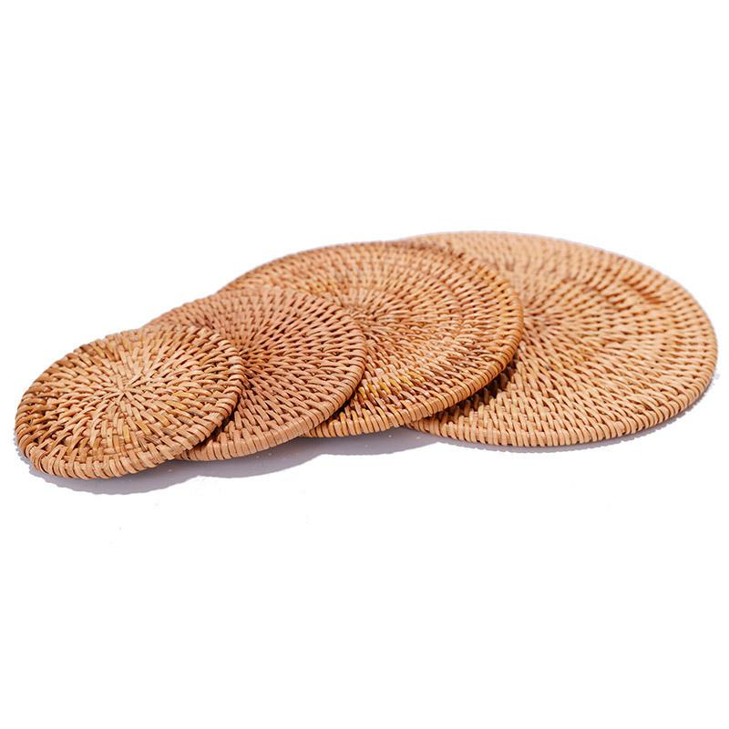 Naturel Sous-verres en rotin Isolation thermique Coupe Bowl Pad main Table ronde Tapis napperons Accessoires de cuisine WB2705