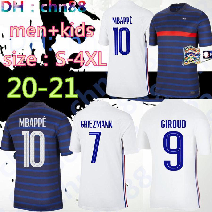 Tamaño: S-4XL 2020 2021 Francia Mbappe Griezmann Pogba Jerseys 20 21 Soccer Jersey Kante Football Shirts Maillot de Foot Men + Kit Kit