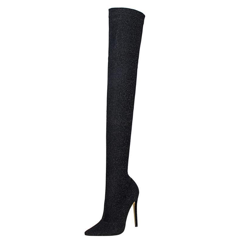 Женская черный бедро высокие сапоги Стильный Sequined Ткань обувь Sexy точки Toe 11.5cm крениться колена сапоги женские партии обувь