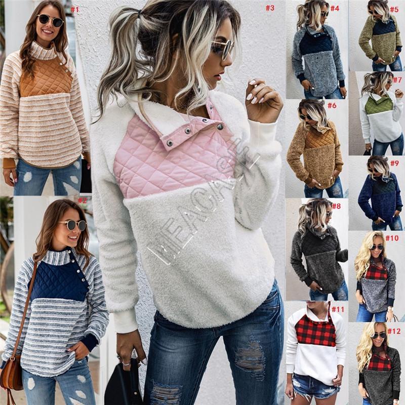 Frauen Fleece Sweatshirts Buffalo Überprüfen Sherpa Pullover beiläufige Oblique-Knopf-Kragen-Warm-Mantel-Winter Patchwork-Jacken Tops D91710