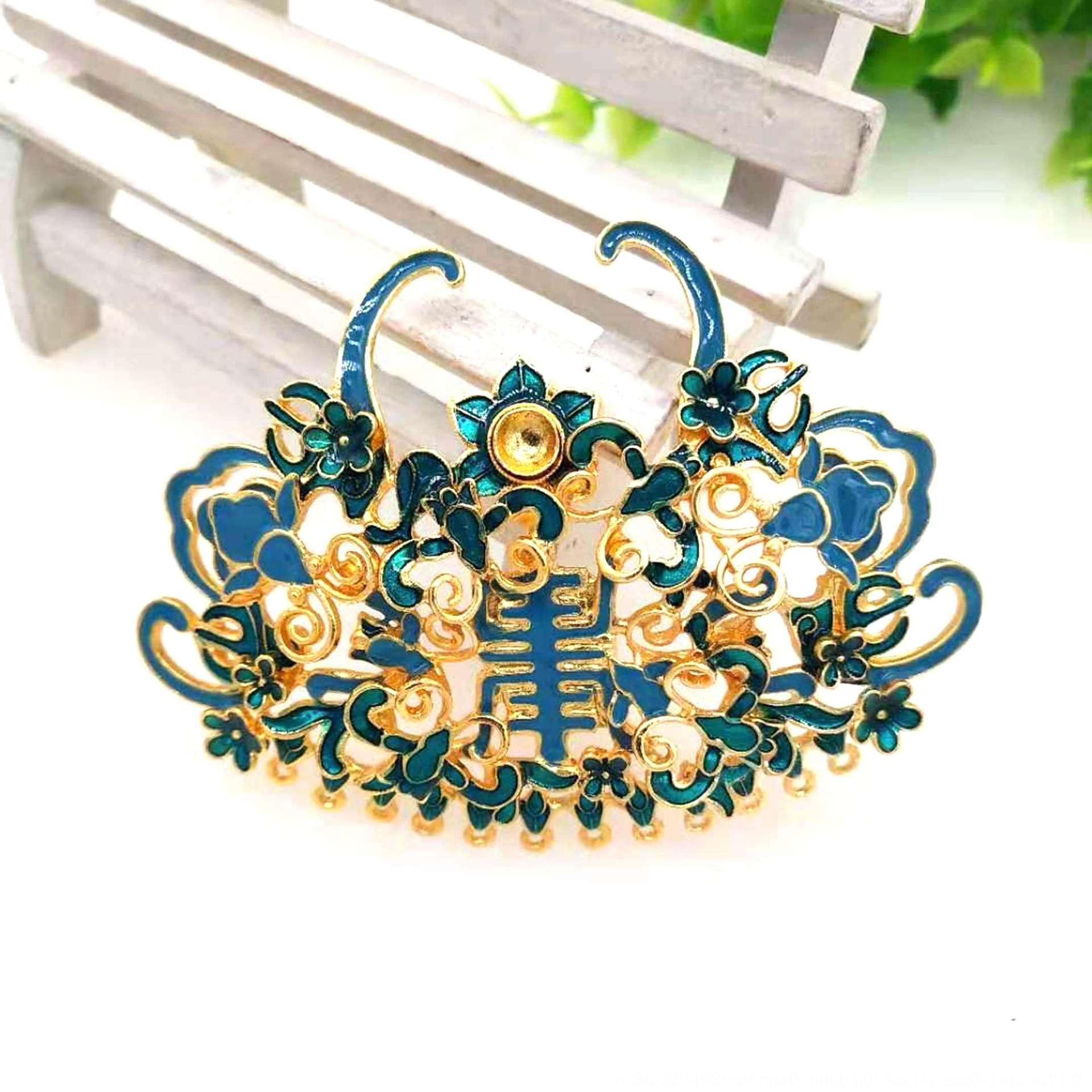 Apo3D Yongjia adornos de bricolaje accesorios de bricolaje de aleación de imitación estofado de accesorios de ropa Han tocado de seda azul de esmalte