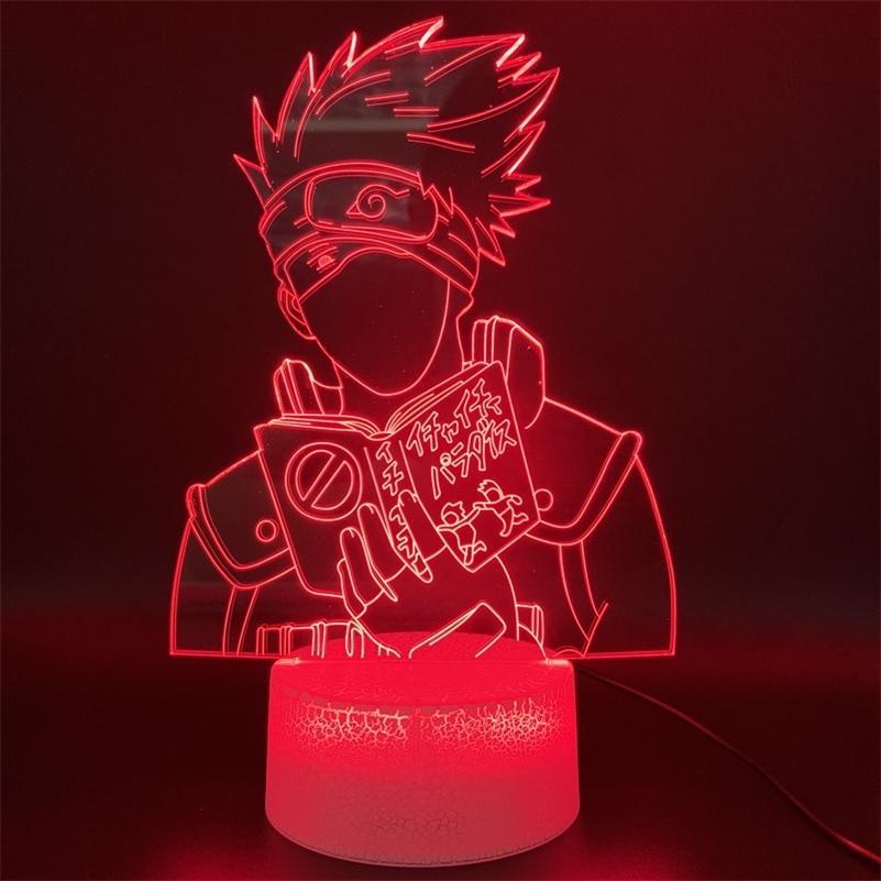 Neuheit Lichter Anime Naruto Kakashi Hatake Figur Kinder Schlafzimmer-Dekor Tabelle Geschenk für Kind 3D-Illusion führte Nachtlicht-Lampe Y200811