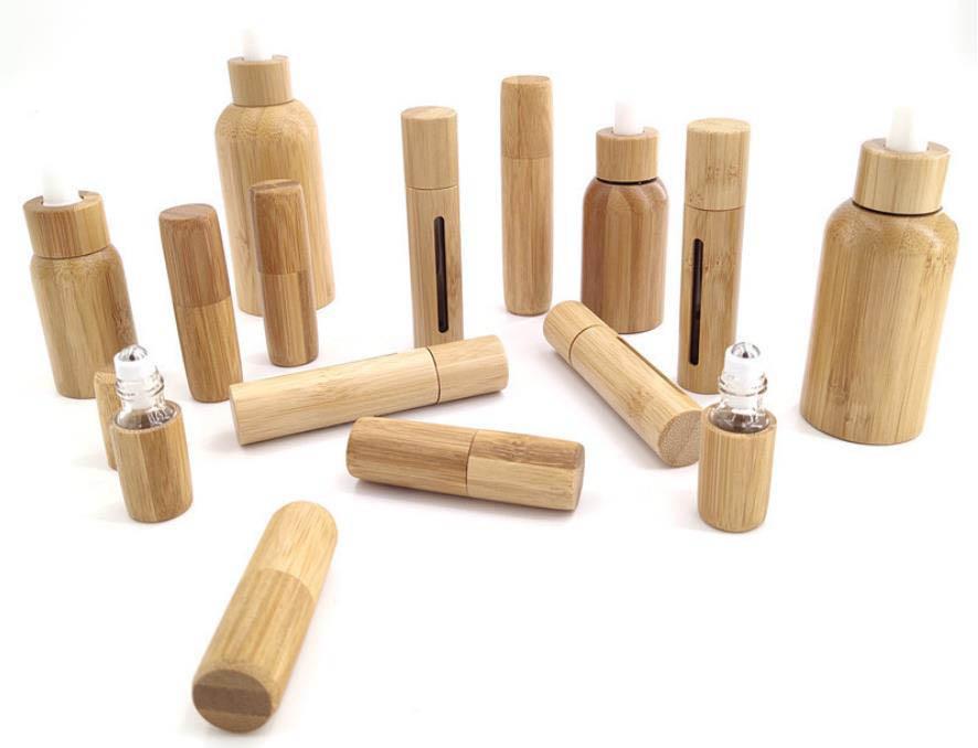 3ml 5ml 10ml bottiglie d'olio essenziale vuota, bottiglie di perfumo di bambù e palla in legno